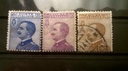 FRANCOBOLLI STAMPS ITALIA ITALY REGNO 1908 USED SERIE COMPLETA VITTORIO EMANUELE III SASSONE N° 83 84 85 - 1900-44 Vittorio Emanuele III