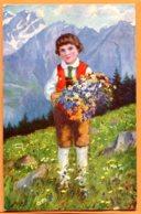 Man761, Garçon Suisse, Swiss Lad, Bambino Svizzero, Fleurs Des Alpes, Paolo Kutscha, Circulée 1924 - Non Classificati