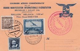 Carte Courrier Aérien Ballon BEGICA 1936 - Poste Aérienne