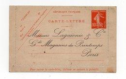 !!! PRIX FIXE : ENTIER POSTAL CARTE LETTRE 10C SEMEUSE AVEC REPIQUAGE GRAND MAGASINS DU PRINTEMPS - Postal Stamped Stationery