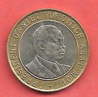 10 Shillings , KENYA , 1995 , Centre: Cupro-Nickel , Couronne: Bronze , N° KM # 27 - Kenya