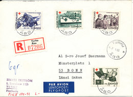 Finland Registered Cover With Complete Set Of 4 RED CROSS 7-1-1966 Sent To Germany - Covers & Documents