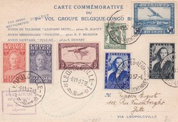 Carte Commémorative Vol Groupe Belgique-Congo Vers Jette ( Belgique)1937 - Poste Aérienne