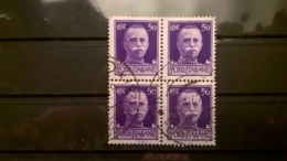 FRANCOBOLLI STAMPS ITALIA ITALY REGNO 1929 USED  QUARTINA CON ANNULLO SERIE IMPERIALE - 1900-44 Vittorio Emanuele III