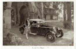 """#22 Reproduction Photo Publicitaire 1928 """"La Trois Litres Bugatti"""", Sur Carte Postale - Voitures De Tourisme"""