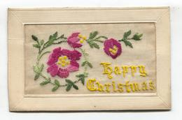 First World War Silk Postcard - Happy Christmas, Red And Pink Flowers - Embroidered
