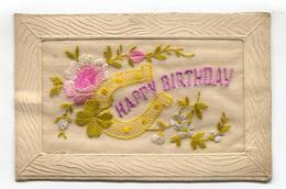 First World War Silk Postcard - Happy Birthday, Flowers, Lucky Horseshoe - Embroidered