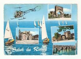 CT--02761-- SALUTI DA RIMINI- 4 VEDUTE - VELE-ELICOTTERO-viaggiata 1965 - Rimini