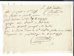 Joachim Murat (1767-1815) MARECHAL EMPIRE AUTOGRAPHE ORIGINAL AUTOGRAPH 1793 21e REGIMENT DE CHASSEURS /FREE SHIP. R - Autografi