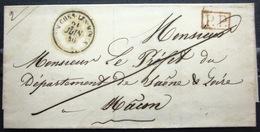 CACHET Type 15 + P.P - COUCHES LES MINES - SAONE ET LOIRE - LSC - 1846 - Marcophilie (Lettres)