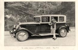 """#01 Reproduction Photo Publicitaire 1928 """"Citroën C6"""", Sur Carte Postale - Toerisme"""