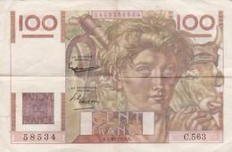 """FRANCE - Type """"Jeune Paysan"""" - 100 F Du 01/10/1953 - 1871-1952 Circulated During XXth"""