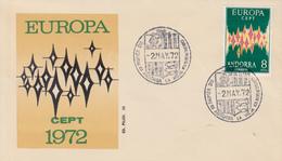 RARE   Enveloppe  FDC   1er  Jour   ANDORRE  ESPAGNOL      EUROPA     1972 - Europa-CEPT