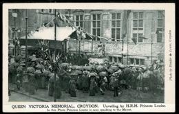 Ref 1273 - Early Postcard - Unveilling Of Queen Victoria Memorial - Croydon Surrey - Surrey