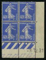 FRANCE - YT 237 ** - SEMEUSE 40c - BLOC DE 4 TIMBRES NEUFS ** AVEC COIN DATE - Ecken (Datum)