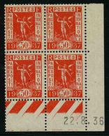 FRANCE - YT 325 ** - BLOC DE 4 TIMBRES NEUFS ** AVEC COIN DATE - 1930-1939
