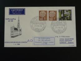 Lettre Premier Vol First Flight Cover 1958 Saar ---> Dusseldorf ---> London Lufthansa (ref 91964) - 1957-59 Bundesland