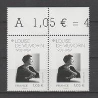 FRANCE / 2019 / Y&T N° ?2019/02/11 ** : Louise De Vilmorin X 2 En Paire Tous BdF Haut - Gomme D'origine Intacte - France