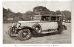 """#09 Reproduction Photo Publicitaire 1928 """"Limousine-cabriolet, Carrossé Par Letourneur Et Marchand"""", Sur Carte Postale - Voitures De Tourisme"""