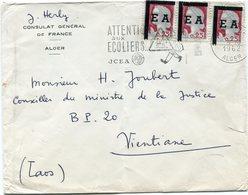 ALGERIE LETTRE A ENTETE DU CONSULAT GENERAL DE FRANCE DEPART ALGER 9-10-1962 ALGER POUR LE LAOS - Algeria (1924-1962)