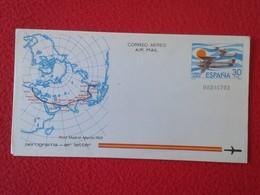 SPAIN ESPAÑA 30 PTA. CORREO AEREO AIR MAIL AEROGRAMA AIR LETTER AEROGRAM CON MAPA MAP RAID MADRID MANILA 1926 FILIPINAS - Sellos