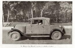 """#10 Reproduction Photo Publicitaire 1928 """"La Monasix Luxe Renault, Carrossée En Cabriolet 2/3 Places"""", Sur Carte Postale - Voitures De Tourisme"""