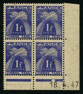 FRANCE - YT TAXE 81 ** - BLOC DE 4 TIMBRES NEUFS ** AVEC COIN DATE - Taxe