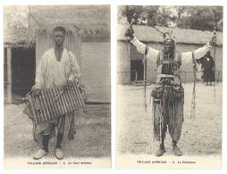 2 Cpa Village Africain - Le Féticheur / Le Chef Balafon ( Exposition Grenoble ? ) - Cartes Postales