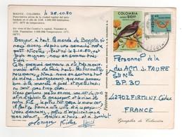"""Timbres , Stamps """" Oiseau , Bijou """" Sur Carte , Cp , Postcard Du 29/10/1980 - Colombie"""