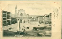 CARTOLINA - CV166 FIRENZE (FI) Piazza E Chiesa S. Maria Novella, FP C, Viaggiata 1901, Conn Trenino, Retro Indiviso, - Firenze