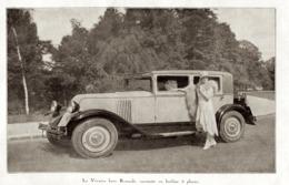 """#11 Reproduction Photo Publicitaire 1928 """"La Vivasix Luxe Renault, Carrossée En Berline 5 Places"""", Sur Carte Postale - Toerisme"""