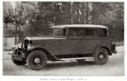 """#14 Reproduction Photo Publicitaire 1928 """"6 Places Peugeot 12 CV Six"""", Sur Carte Postale - Voitures De Tourisme"""