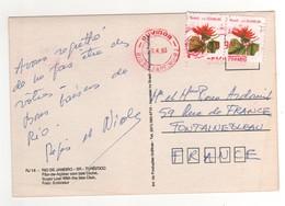 """Timbre , Stamp  """" Fleur """" Sur Carte , Cp , Postcard Du 09/06/1993 - Brésil"""