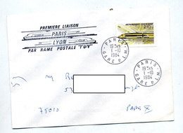 Lettre Cachet Paris + 1ere Liaison Postale Tgv  + Lyon - Storia Postale