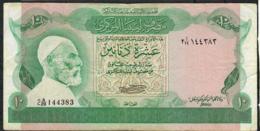 LIBYA P46a 10 DINARS 1981 Signature 1 #2A/29 VF NO P.h. - Libye