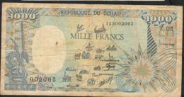 CHAD P10Ac 1000 FRANCS 1989 FINE NO P.h. - Ciad