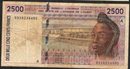 W.A.S. IVORY COAST P112Ab 2500 FRANCS (19)93  FINE+ NO P.h. - Côte D'Ivoire