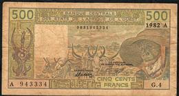 W.A.S. IVORY COAST P106Ad  500 FRANCS 1982 FINE Only 1  P.h. ! - Côte D'Ivoire