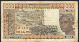 W.A.S. IVORY COAST P107Aa1  1000 FRANCS 1981 FIRST ALPHABET #001  FINE+ NO P.h. - Côte D'Ivoire