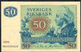 SWEDEN P53d 50 KRONOR 1989 #9040205620 VF NO P.h. - Suède