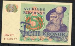 SWEDEN P51a 5 KRONOR 1967  AU-UNC. - Suède
