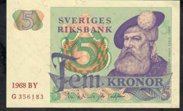 SWEDEN P51a 5 KRONOR 1968 #BY  UNC. - Suède