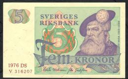 SWEDEN P51c 5 KRONOR 1976 #DS   AU - Suède