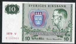 SWEDEN P52d 10 KRONOR 1979  #V   UNC. - Suède