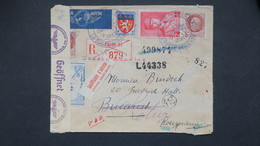 Carte Expo Aerienne Galliera ( Vignette ) En Recommandé Pour La Roumanie Octobre 1943 Censure Et Retour - Postmark Collection (Covers)