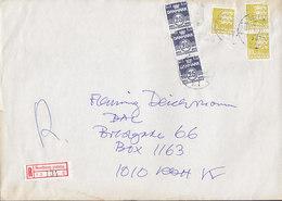 Denmark Registered Einschreiben Label HOVEDBANEG. Posteksp. Brotype Vd KØBENHAVN (21. *3) 1993 Cover Brief - Dänemark