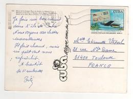 """Timbre , Stamp  """" Transport De Courrier Par Fusée """" Sur Carte , Cp , Postcard - Cuba"""
