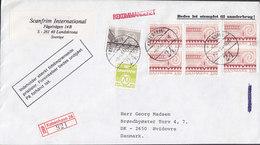 Denmark Registered Einschreiben Label KØBENHAVN 24 Brotype Vd KØBENHAVN (24.) 1984 Cover Brief Incl. 4-Block (Cz. Slania - Briefe U. Dokumente