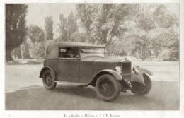 """#18 Reproduction Photo Publicitaire 1928 """"Le Cabriolet  - Riviera - 5 CV Licorne"""", Sur Carte Postale - Voitures De Tourisme"""