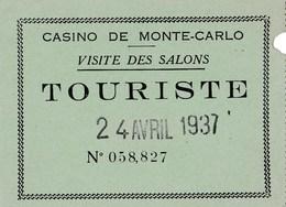 Ticket D'entrée Casino De Monte Carlo 1937 - Tickets D'entrée